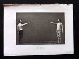 Badminton Library 1893 Antique Sword Fencing Print. The Salute, First Position